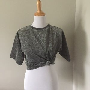 Urban Outfitters Silver Sparkly T-shirt SZ Medium